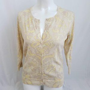 Merona yellow floral print cardigan XL